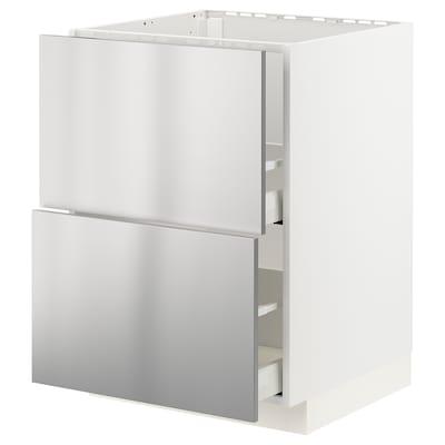 METOD / MAXIMERA Mobile lavello/2frontali/2cassetti, bianco/Vårsta inox, 60x60 cm