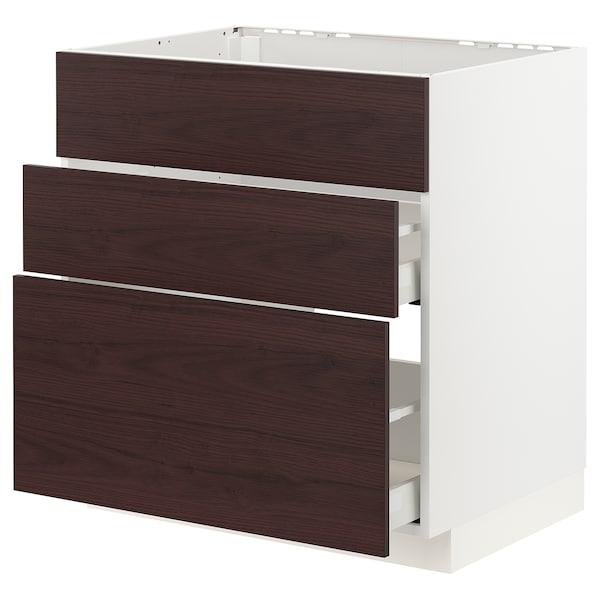 METOD / MAXIMERA Mobile lavello/3frontali/2cassetti, bianco Askersund/marrone scuro effetto frassino, 80x60 cm