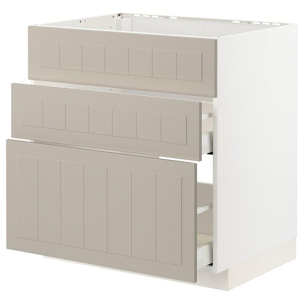 METOD / MAXIMERA Mobile lavello/3frontali/2cassetti, bianco/Stensund beige, 80x60 cm