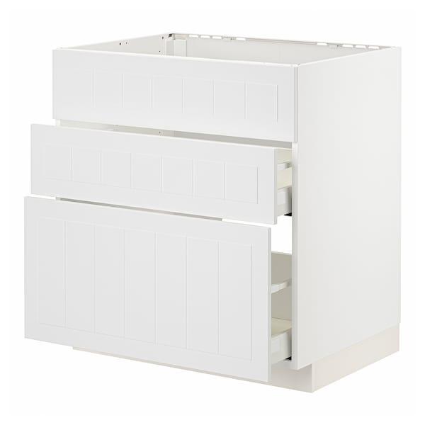 METOD / MAXIMERA Mobile lavello/3frontali/2cassetti, bianco/Stensund bianco, 80x60 cm