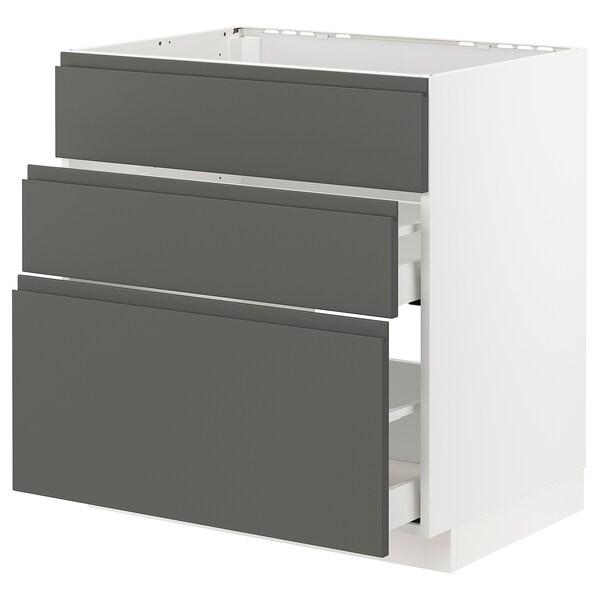 METOD / MAXIMERA Mobile lavello/3frontali/2cassetti, bianco/Voxtorp grigio scuro, 80x60 cm