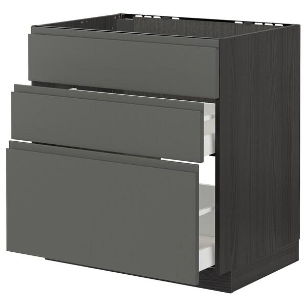 METOD / MAXIMERA Mobile lavello/3frontali/2cassetti, nero/Voxtorp grigio scuro, 80x60 cm