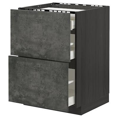 METOD / MAXIMERA Mobile p cottura/2frontali/3casset, nero/Kalhyttan effetto cemento grigio scuro, 60x60 cm
