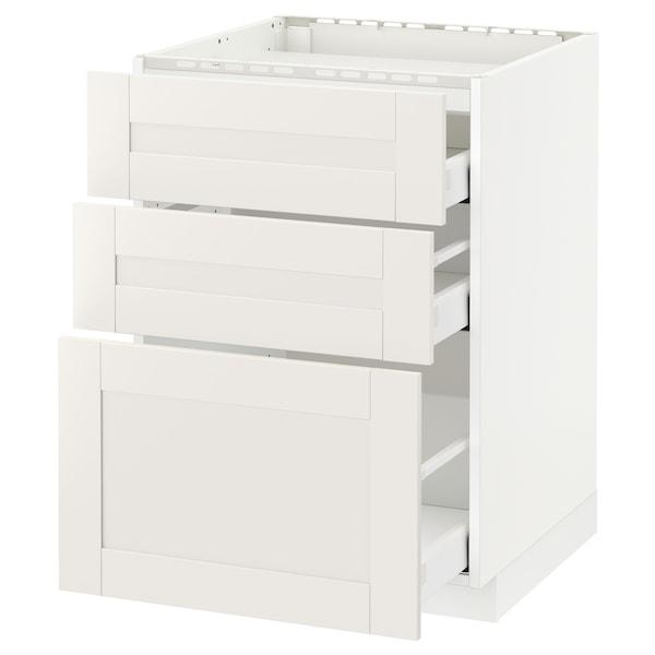 METOD / MAXIMERA Mobile p cottura/3frontali/3casset, bianco/Sävedal bianco, 60x60 cm