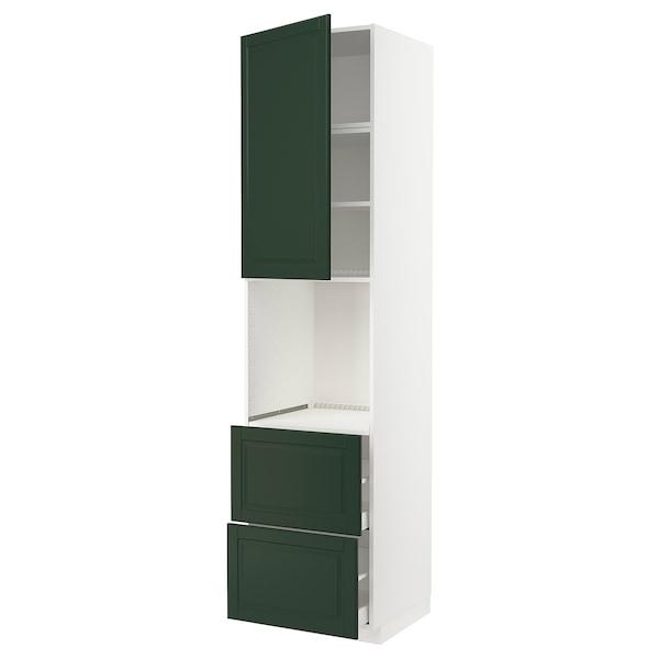METOD / MAXIMERA Mobile per forno + anta/2 cassetti, bianco/Bodbyn verde scuro, 60x60x240 cm