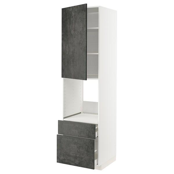 METOD / MAXIMERA Mobile per forno + anta/2 cassetti, bianco/Kalhyttan effetto cemento grigio scuro, 60x60x220 cm