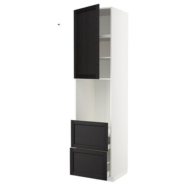 METOD / MAXIMERA Mobile per forno + anta/2 cassetti, bianco/Lerhyttan mordente nero, 60x60x240 cm