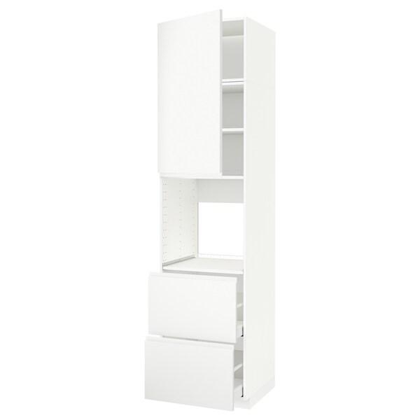METOD / MAXIMERA Mobile per forno + anta/2 cassetti, bianco/Voxtorp bianco opaco, 60x60x240 cm