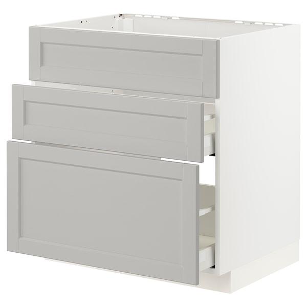 METOD / MAXIMERA Mobile piano cott/cappa int/casset, bianco/Lerhyttan grigio chiaro, 80x60 cm