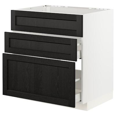 METOD / MAXIMERA Mobile piano cott/cappa int/casset, bianco/Lerhyttan mordente nero, 80x60 cm