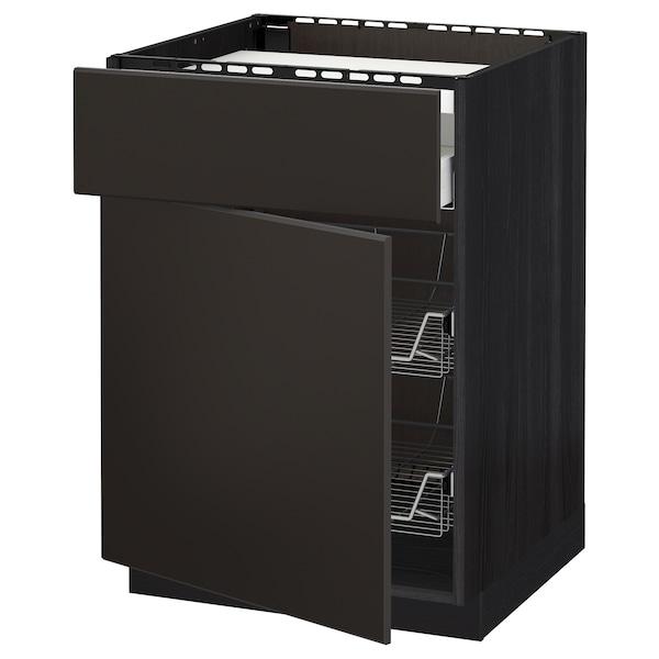 METOD / MAXIMERA Mobile piano cottura/casset/2cestel, nero/Kungsbacka antracite, 60x60 cm