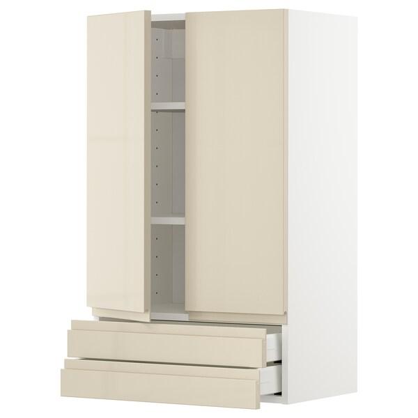 METOD / MAXIMERA Pensile con 2 ante/2 cassetti, bianco/Voxtorp beige chiaro lucido, 60x100 cm