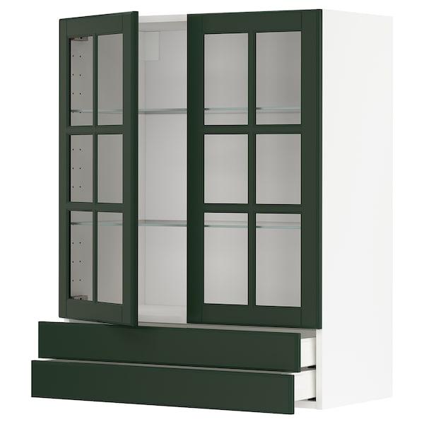 METOD / MAXIMERA Pensile con 2 ante vetro/2 cassetti, bianco/Bodbyn verde scuro, 80x100 cm