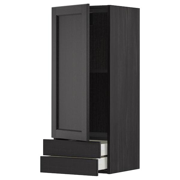 METOD / MAXIMERA Pensile con anta/2cassetti, nero/Lerhyttan mordente nero, 40x100 cm