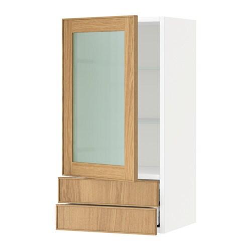metod maximera pensile con anta a vetro 2 cassetti bianco ekestad rovere 40x80 cm ikea. Black Bedroom Furniture Sets. Home Design Ideas