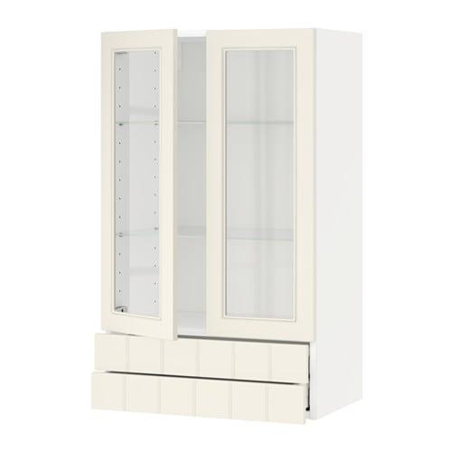 Metod maximera pensile con 2 ante vetro 2 cassetti bianco hittarp bianco sporco 60x100 cm - Guide per cassetti ikea ...