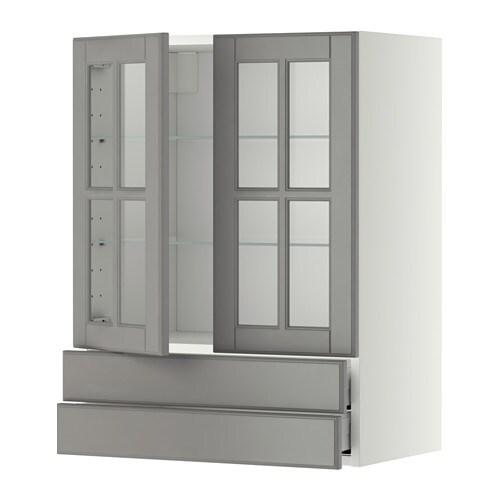 Metod maximera pensile con 2 ante vetro 2 cassetti for Vetro per mobili ikea