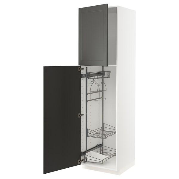 METOD Mobile alto con accessori pulizia, bianco/Axstad grigio scuro, 60x60x220 cm