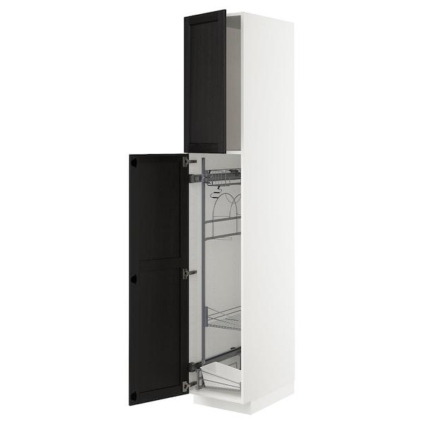METOD Mobile alto con accessori pulizia, bianco/Lerhyttan mordente nero, 40x60x220 cm