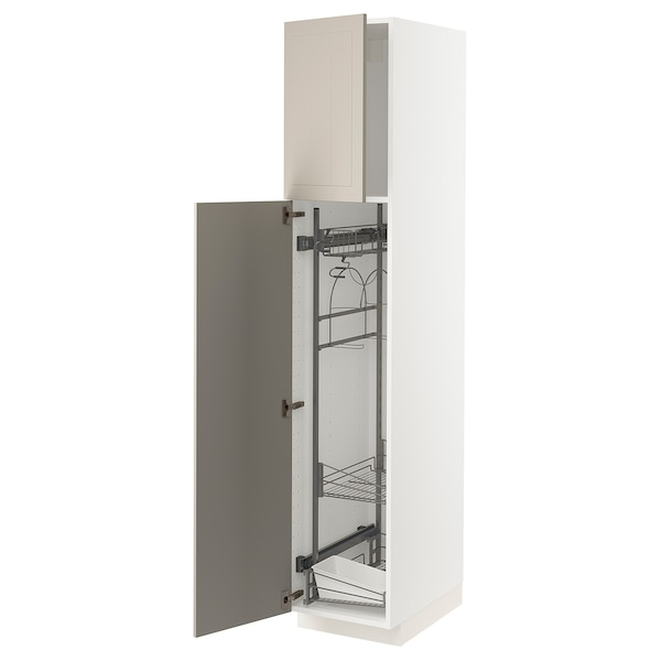 METOD Mobile alto con accessori pulizia, bianco/Stensund beige, 40x60x200 cm
