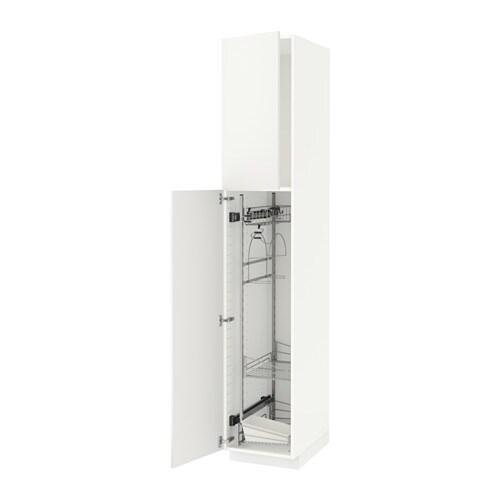 Metod mobile alto con accessori pulizia bianco h ggeby - Mobile alto e stretto ikea ...