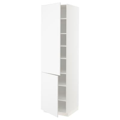 METOD Mobile alto con ripiani/2 ante, bianco/Kungsbacka bianco opaco, 60x60x220 cm