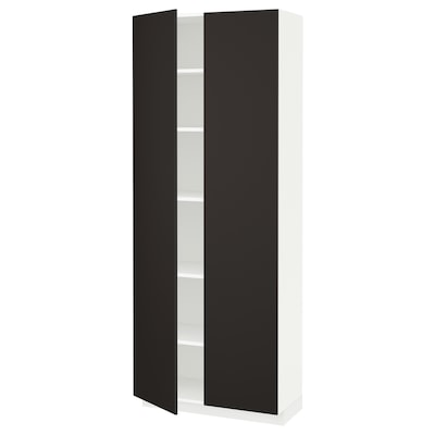 METOD Mobile alto con ripiani, bianco/Kungsbacka antracite, 80x37x200 cm