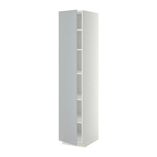 METOD Mobile alto con ripiani - bianco, Veddinge grigio, 40x60x200 cm ...
