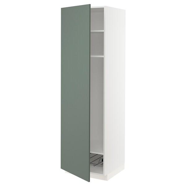 METOD Mobile alto con ripiani/cestello, bianco/Bodarp grigio-verde, 60x60x200 cm