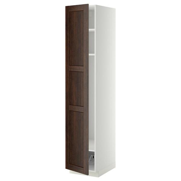 METOD Mobile alto con ripiani/cestello, bianco/Edserum marrone, 40x60x200 cm