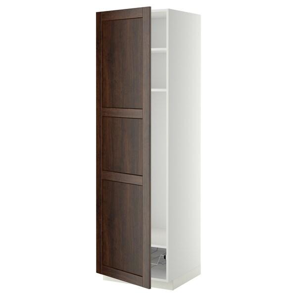 METOD Mobile alto con ripiani/cestello, bianco/Edserum marrone, 60x60x200 cm