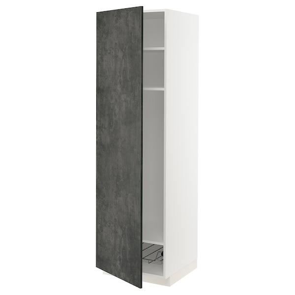 METOD Mobile alto con ripiani/cestello, bianco/Kalhyttan effetto cemento grigio scuro, 60x60x200 cm