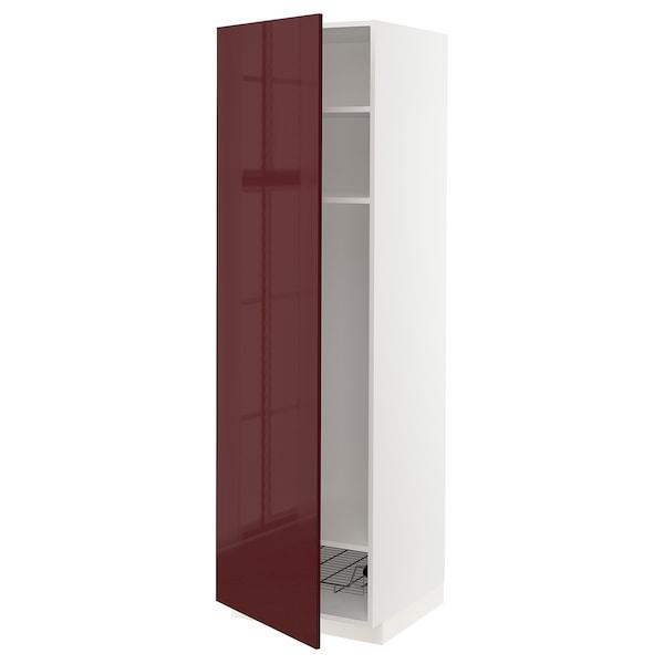 METOD Mobile alto con ripiani/cestello, bianco Kallarp/lucido color mogano, 60x60x200 cm