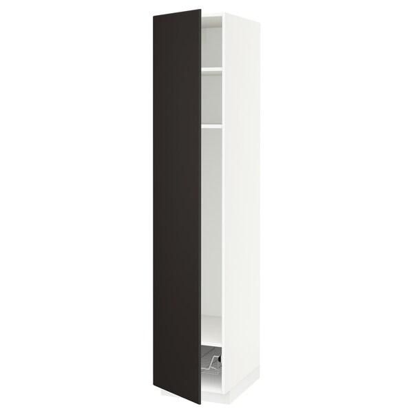 METOD Mobile alto con ripiani/cestello, bianco/Kungsbacka antracite, 40x60x200 cm