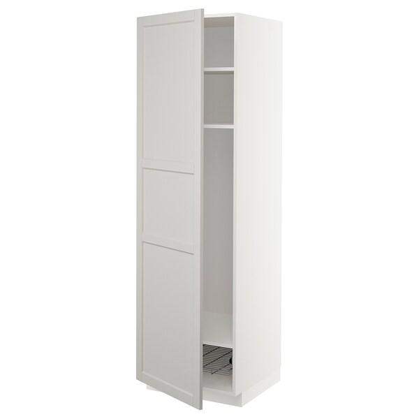 METOD Mobile alto con ripiani/cestello, bianco/Lerhyttan grigio chiaro, 60x60x200 cm