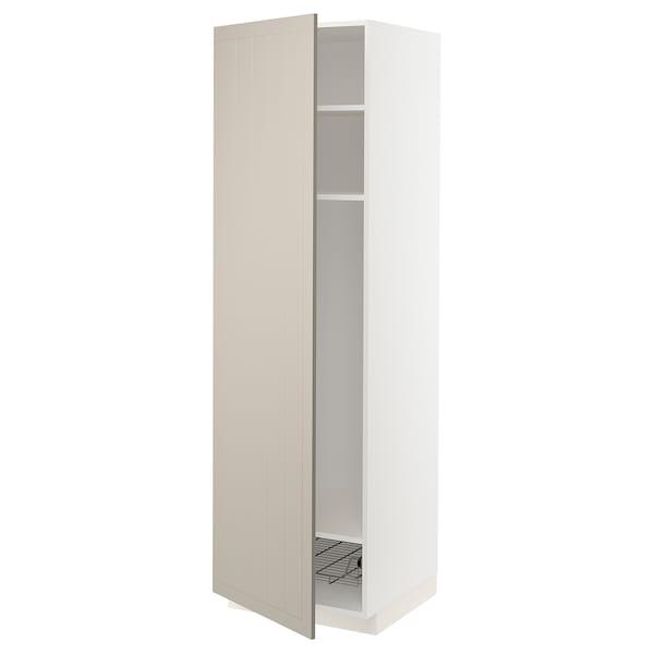METOD Mobile alto con ripiani/cestello, bianco/Stensund beige, 60x60x200 cm