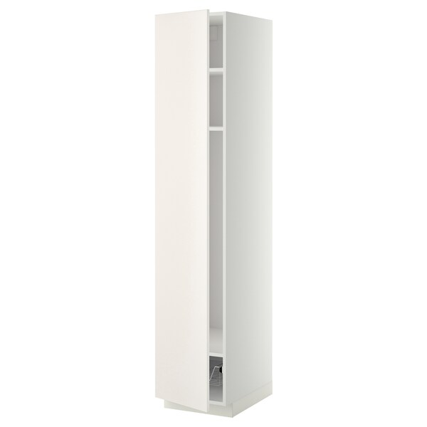 METOD Mobile alto con ripiani/cestello, bianco/Veddinge bianco, 40x60x200 cm