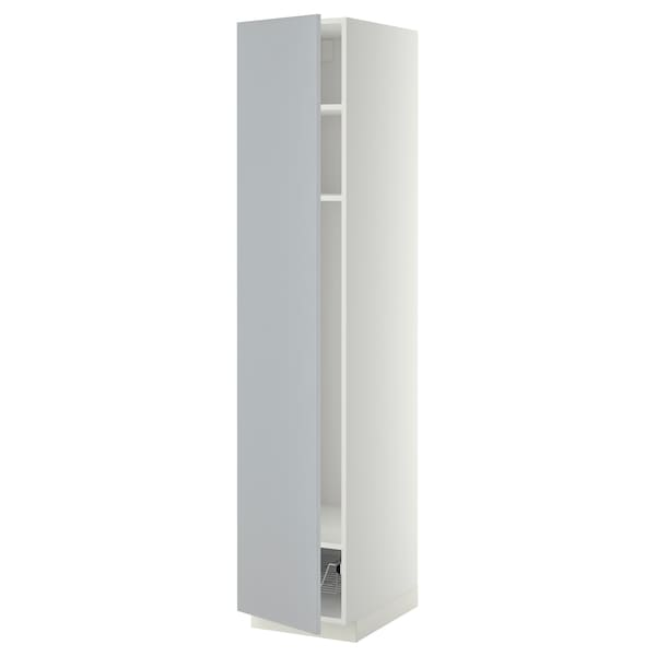 METOD Mobile alto con ripiani/cestello, bianco/Veddinge grigio, 40x60x200 cm