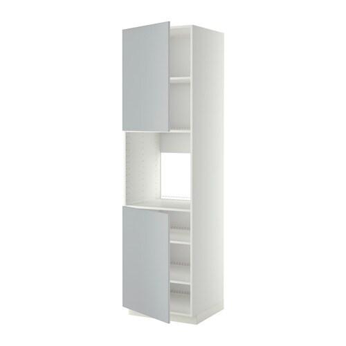 METOD Mobile alto forno, 2 ante/ripiani - bianco, Veddinge grigio, 60x60x220 ...