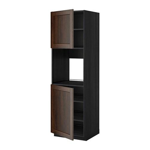 METOD Mobile alto forno, 2 ante/ripiani - effetto legno nero ...
