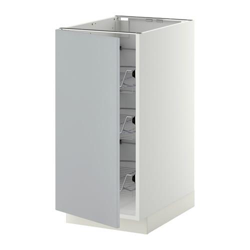 METOD Mobile base con cestelli scorrevoli - bianco, Veddinge grigio ...
