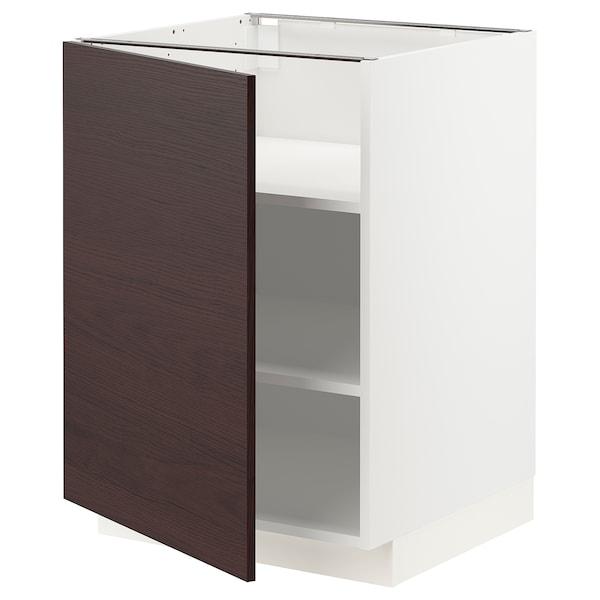 METOD Mobile base con ripiani, bianco Askersund/marrone scuro effetto frassino, 60x60 cm