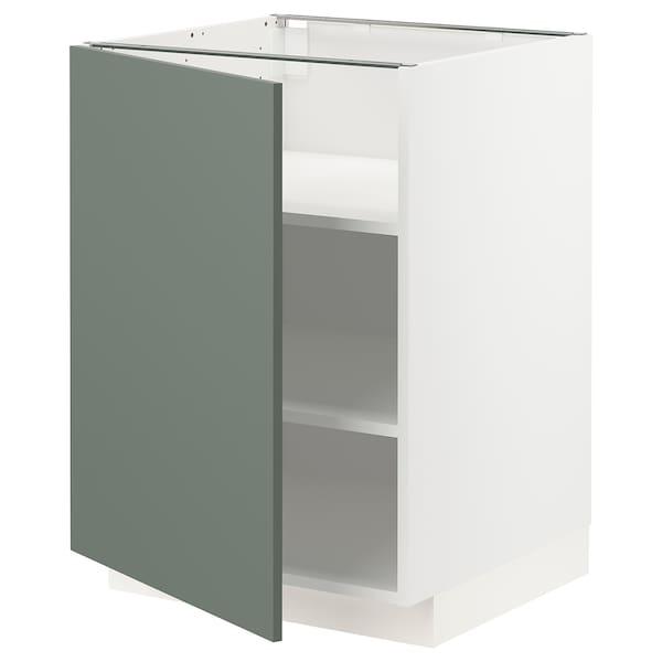 METOD Mobile base con ripiani, bianco/Bodarp grigio-verde, 60x60 cm