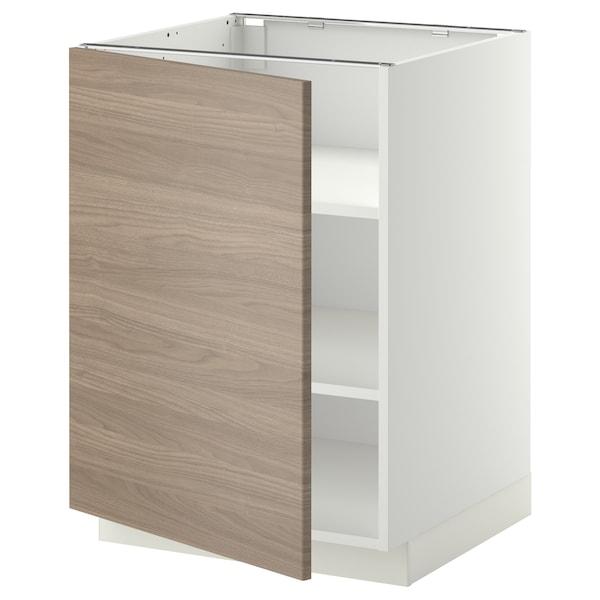 METOD Mobile base con ripiani, bianco/Brokhult grigio chiaro, 60x60 cm