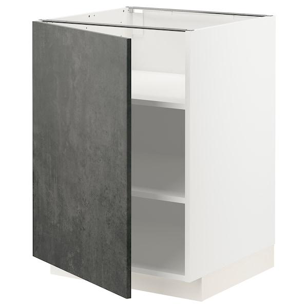 METOD Mobile base con ripiani, bianco/Kalhyttan effetto cemento grigio scuro, 60x60 cm