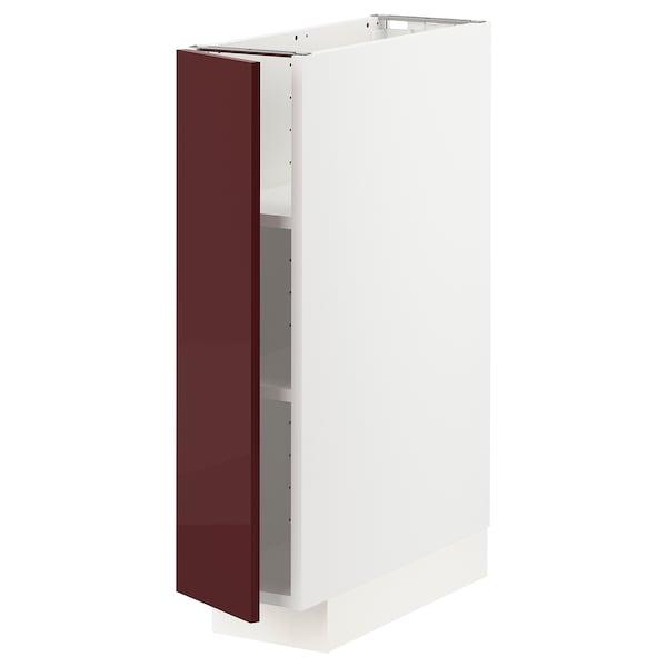 METOD Mobile base con ripiani, bianco Kallarp/lucido color mogano, 20x60 cm