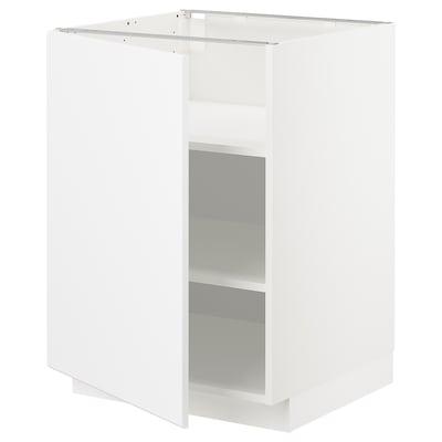 METOD Mobile base con ripiani, bianco/Kungsbacka bianco opaco, 60x60 cm