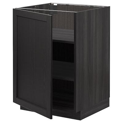 METOD Mobile base con ripiani, nero/Lerhyttan mordente nero, 60x60 cm