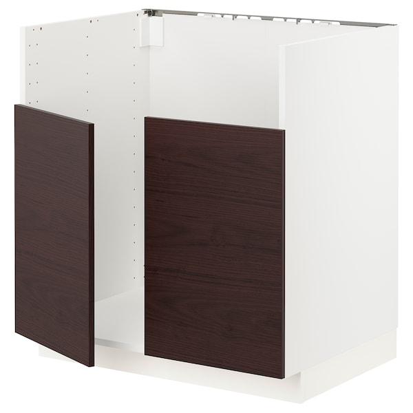 METOD Mobile base p lavello 2vas BREDSJÖN, bianco Askersund/marrone scuro effetto frassino, 80x60 cm