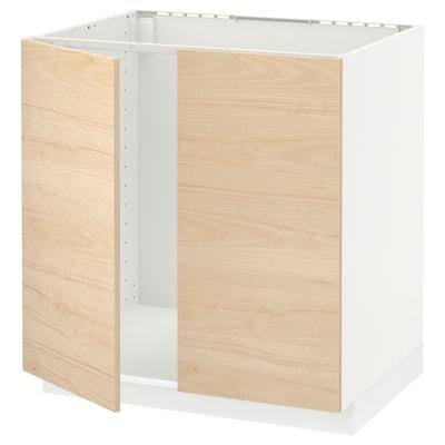 METOD Mobile base per lavello + 2 ante, bianco/Askersund effetto frassino chiaro, 80x60 cm